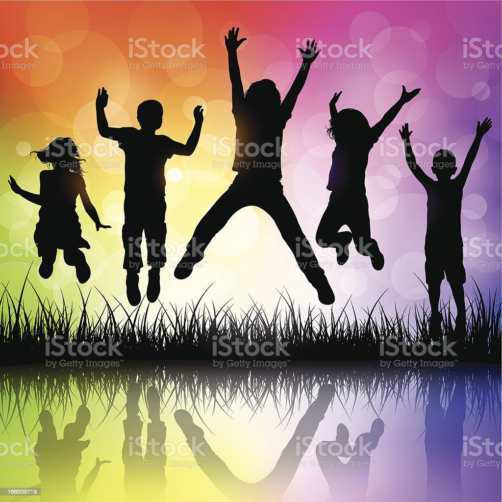 Children Jumping royalty-free children jumping stock vector art & more images of 4-5 years