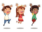Group of happy kids jumping, cartoon character, vector illustration, isolated white background, one little girl and two boys