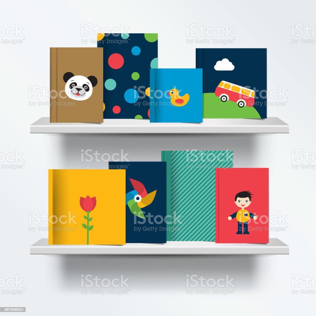 Children, kids Bookshelf. Front view of books cover vector art illustration