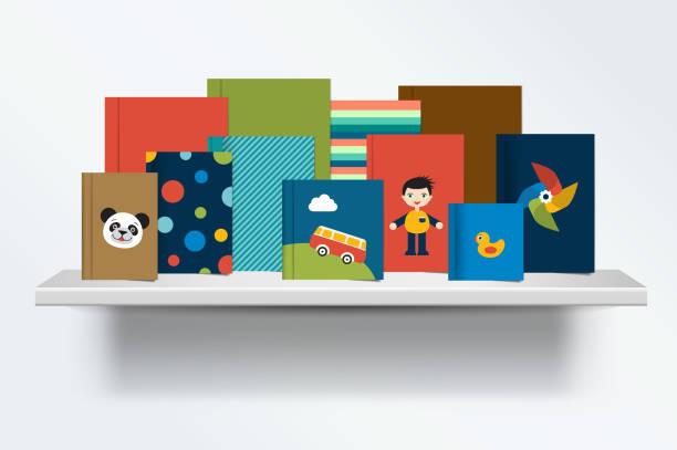 Children, kids Bookshelf. Vector illustration. vector art illustration