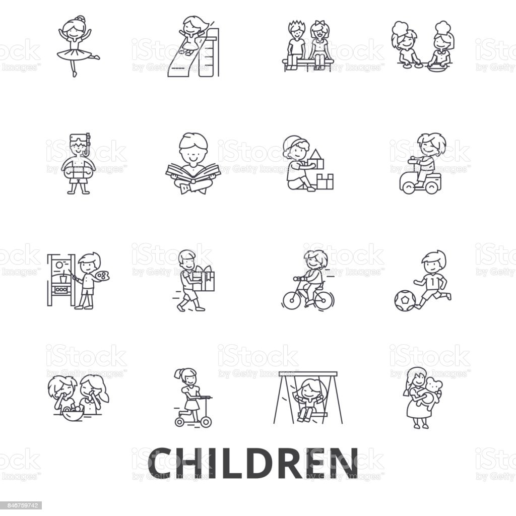 Children, kids, playing, baby, family, happy, girl, boy, teenager, playground line icons. Editable strokes. Flat design vector illustration symbol concept. Linear signs isolated vector art illustration