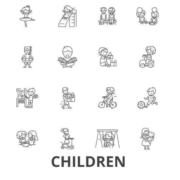 ilustrações, clipart, desenhos animados e ícones de crianças, crianças, tocando, bebê, família, felizes, menina, menino, adolescente, ícones de linha do campo de jogos. cursos editáveis. conceito de símbolo ilustração vetor design plano. sinais lineares isolados - brincadeira