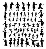 A big high quality detailed set of kids or children in silhouette playing and having fun