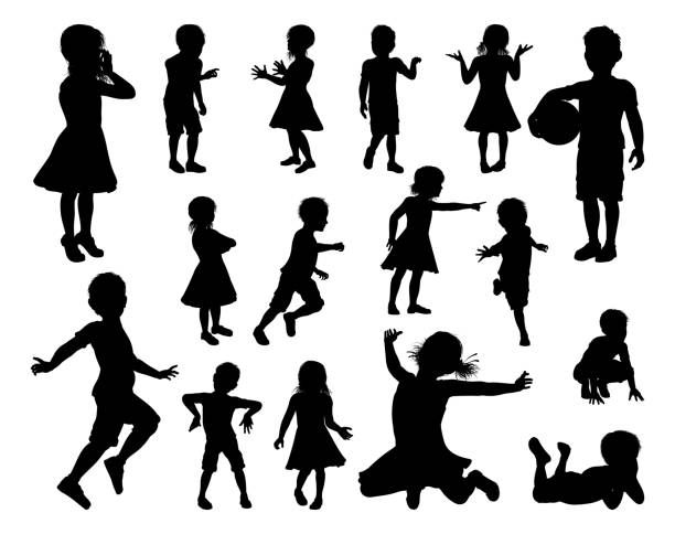 Children Kids Silhouette Set A set of high quality detailed silhouettes of kids or children in various poses children only stock illustrations
