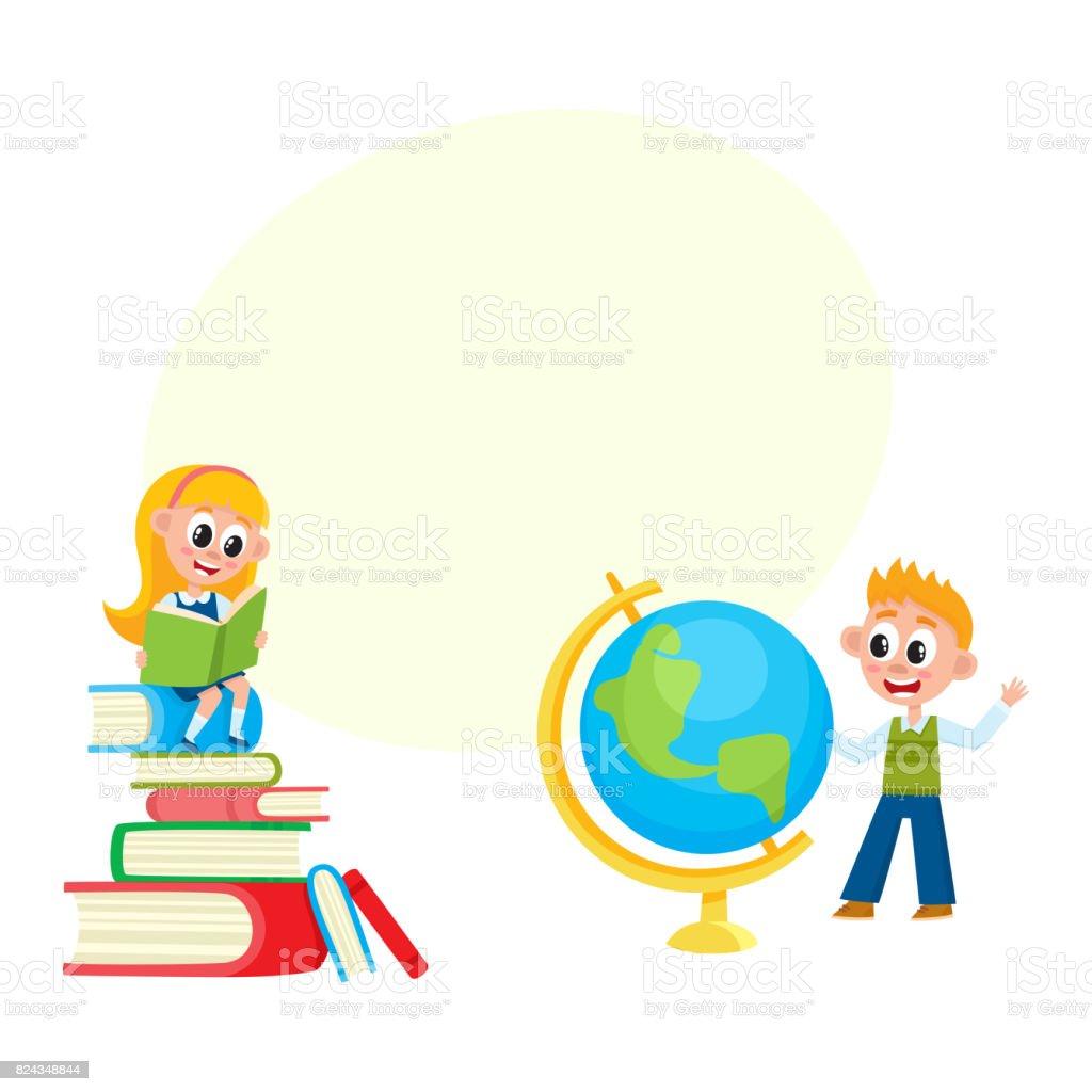 Ilustración de Los Niños Aprenden Muchacha Leyendo Muchacho ...