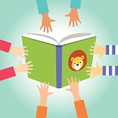 Four pairs of children's hands reaching for a book.