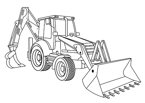 Children linear drawing for coloring book. Construction equipment tractor in linear. Industrial machinery and equipment. Isolated vector on white