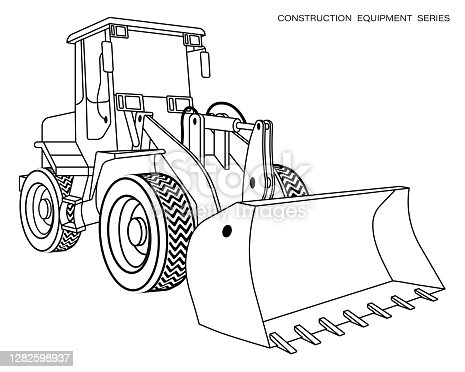 istock Children linear drawing for coloring book. Construction equipment loader, bulldozer in linear. Industrial machinery and equipment. Isolated vector on white 1282598937