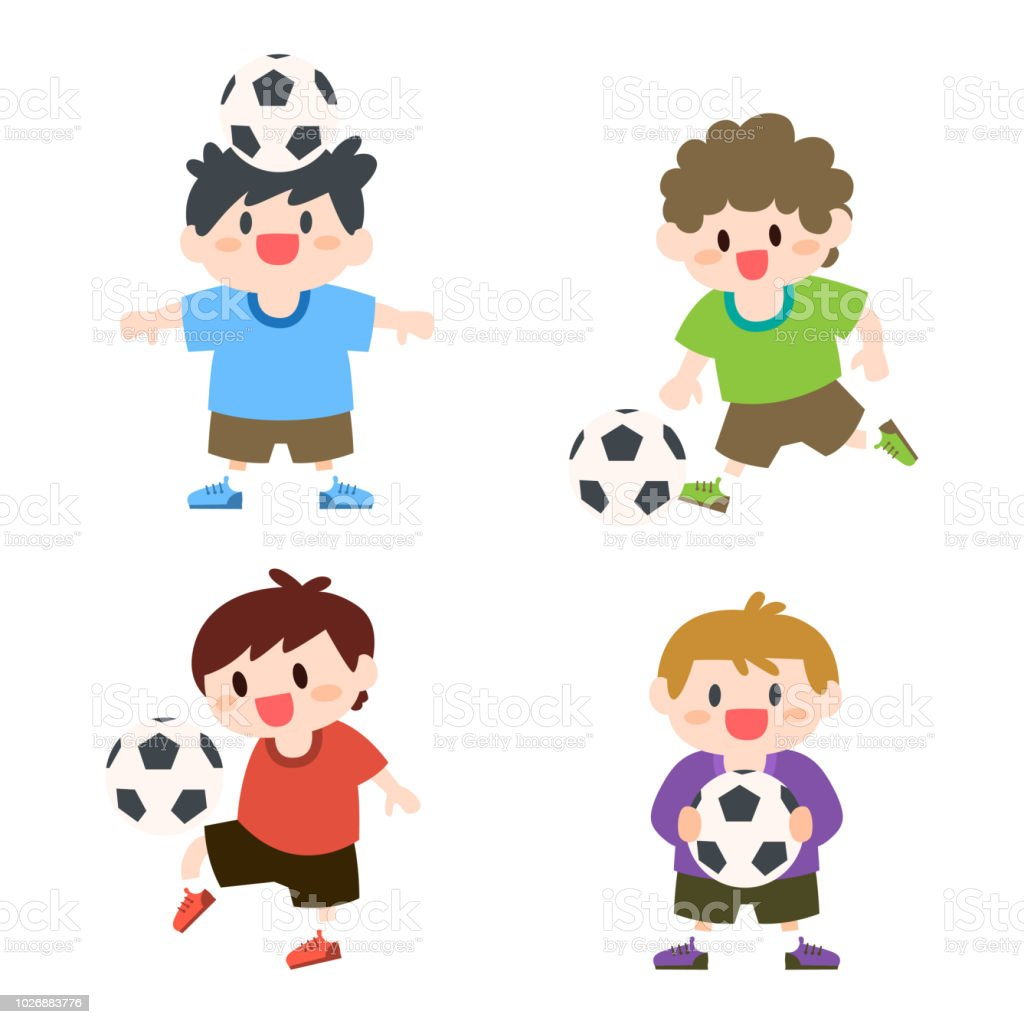 Ilustracion De Ninos Ninos Jugando Futbol Futbol Deporte Al Aire