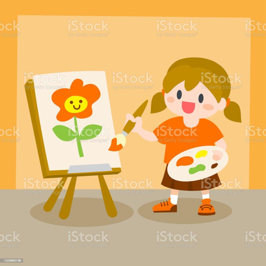 Vetores De Criancas Menina Pintura Em Tela Aula De Desenho E Mais