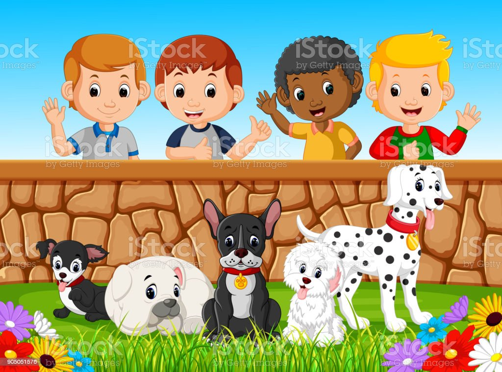 Children looking at dogs over the wall vector art illustration