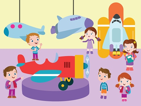 Museum vector concept. Children looking at historical airplane in the museum