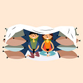 Children made a pillow and a blanket-fortress. Children's building. Fortress made of pillows. Secret house of children. Pajama party. Children's tent made of wooden chairs and blankets. Vector