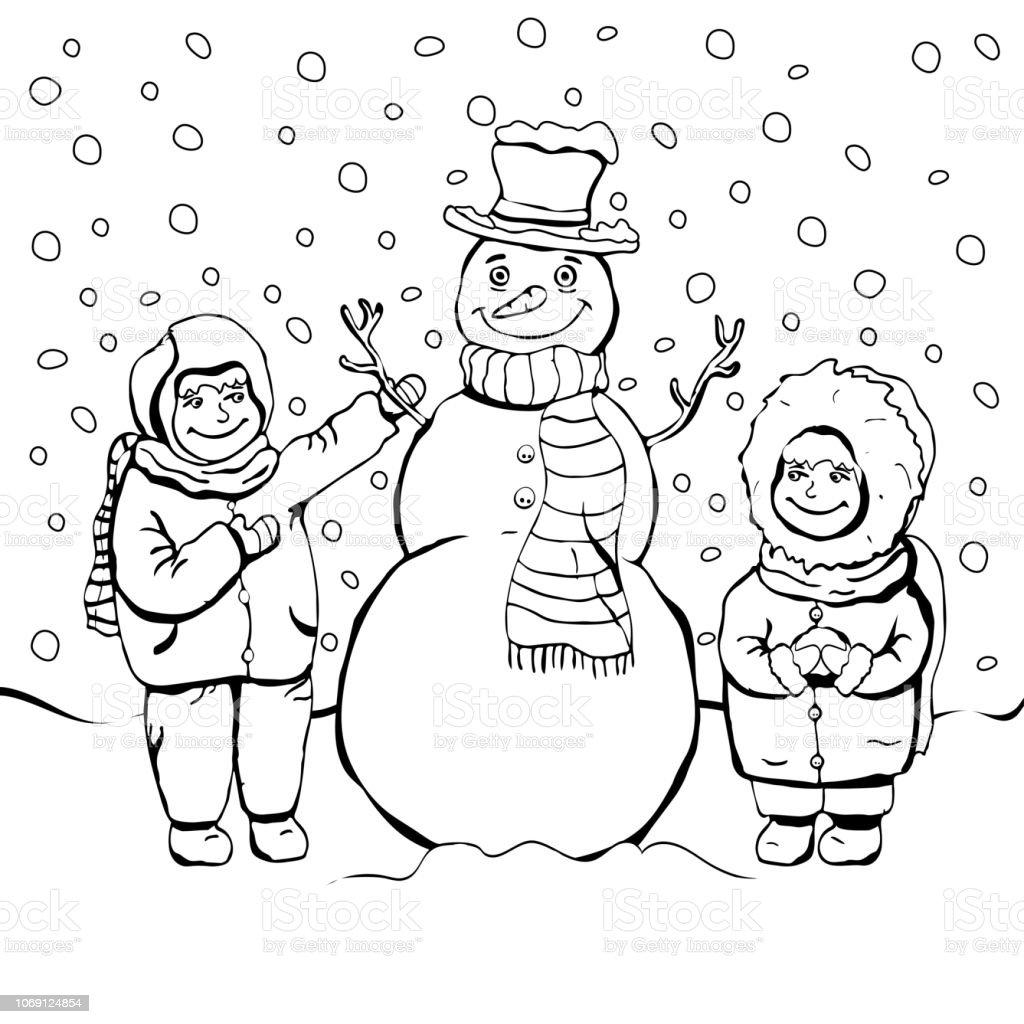 Ilustración De Los Niños Hacen Muñeco De Nieve Para Colorear