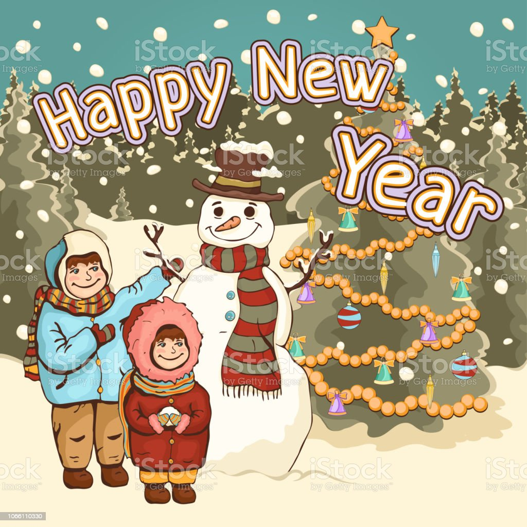 children make snowman happy new year card poster cartoon colorful drawing vector