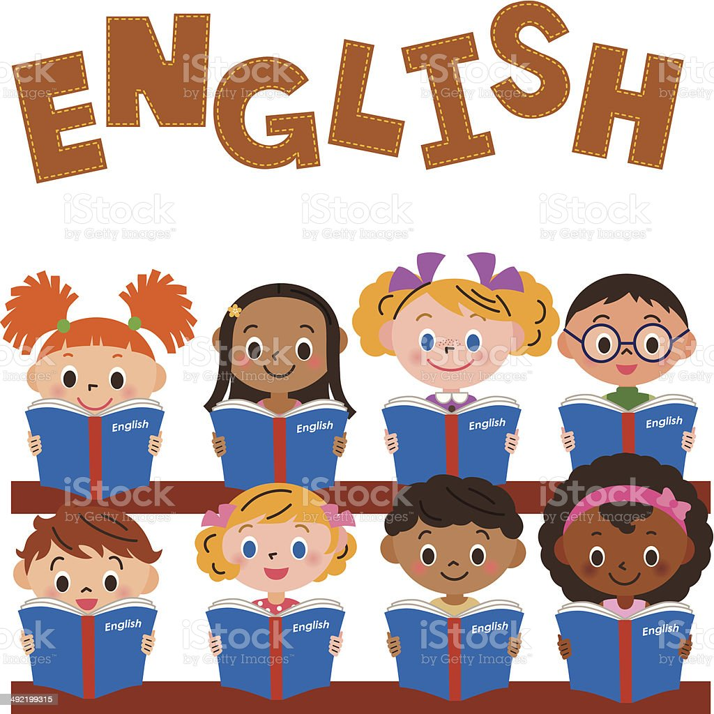 children making an English study vector art illustration