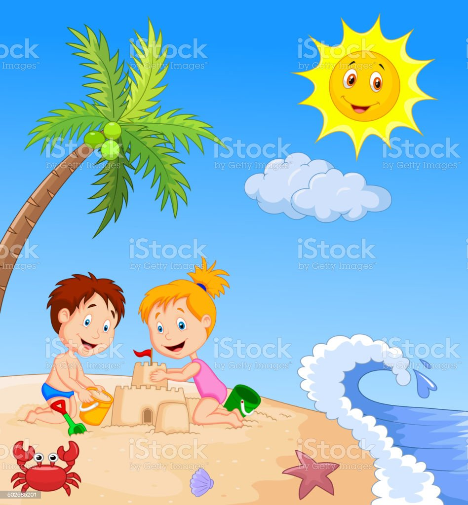 Children making sand castle at tropical beach vector art illustration