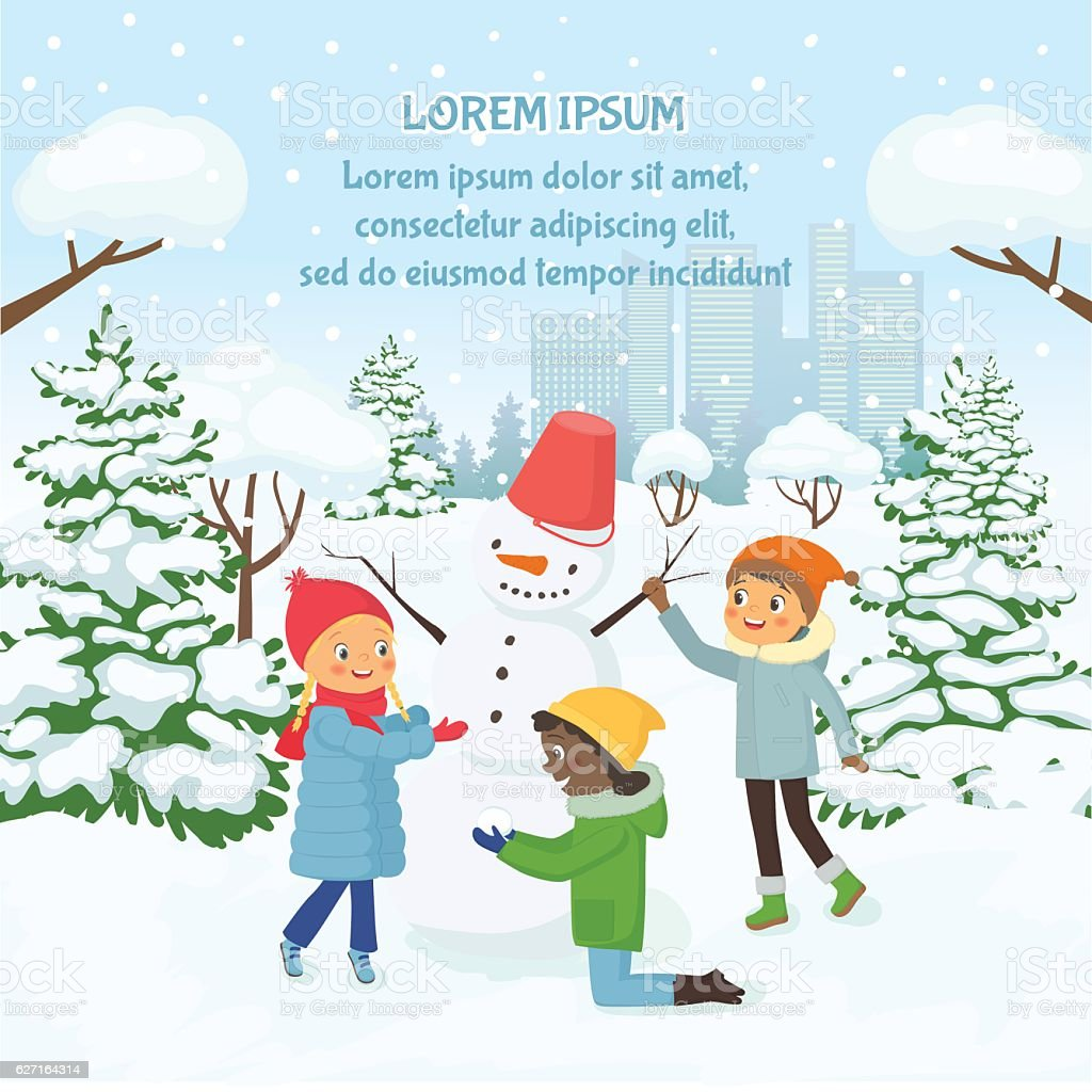 Children making the snowman on the background of snowy city vector art illustration