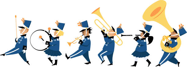 illustrazioni stock, clip art, cartoni animati e icone di tendenza di children marching band - marciare