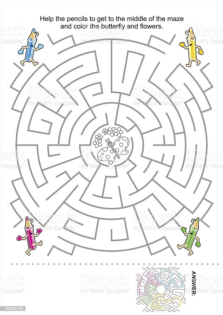 Children maze game with four pencil characters vector art illustration