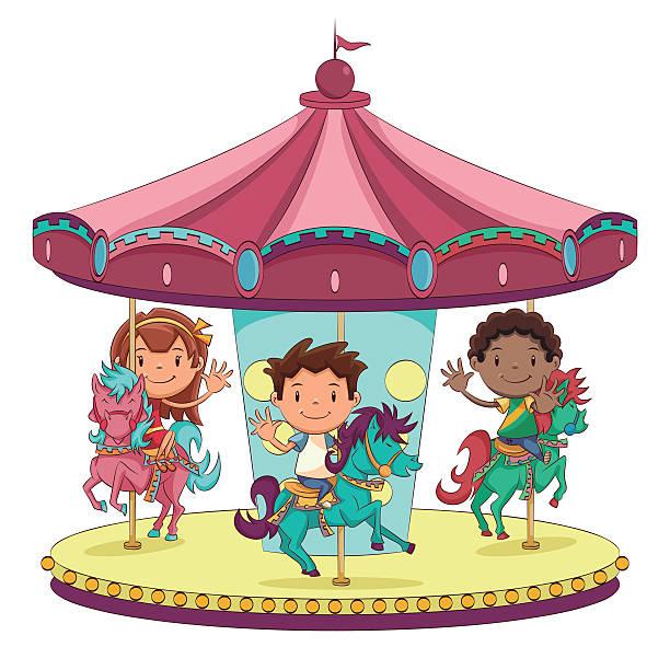 stockillustraties, clipart, cartoons en iconen met children merry go round - mini amusementpark