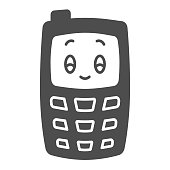 Children mobile phone solid icon, Kids toys concept, Children walkie-talkie or cell phone sign on white background, Phone toy icon in glyph style for mobile and web design. Vector graphics