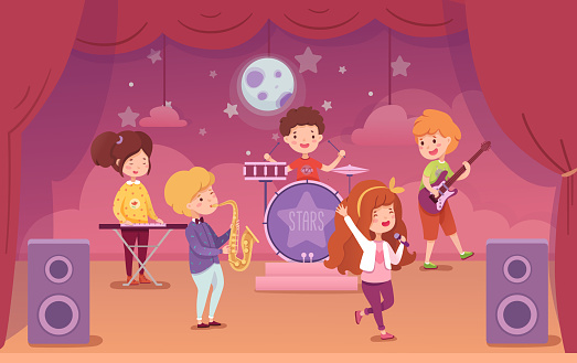 Children music band performing on concert scene