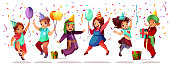 Children of different nationality celebrating birthday or holiday with color balloons, gifts and confetti. Vector cartoon kids black Afro-American and Asian girls, Saudi Arabian and Indian boy jumping
