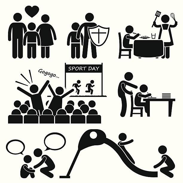 bildbanksillustrationer, clip art samt tecknat material och ikoner med children needs parent love supports icon cliparts - parent talking to child