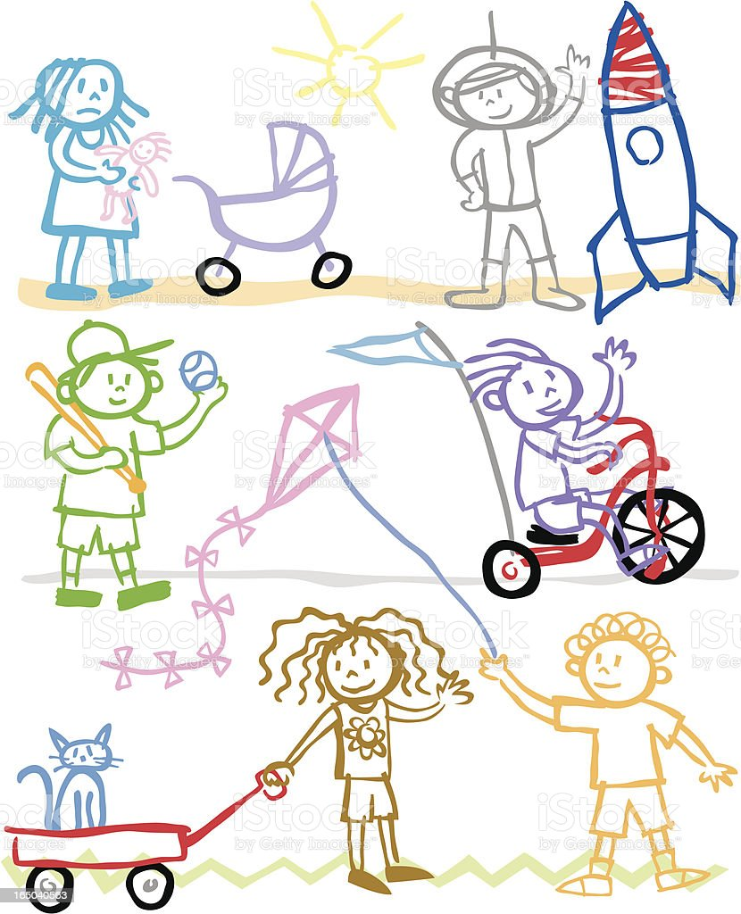 Children of Crayon royalty-free stock vector art