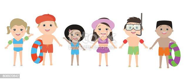 Dibujos De NiÑos Por Nacionalidades: Niños De Diferentes Nacionalidades En Ropa De Playa