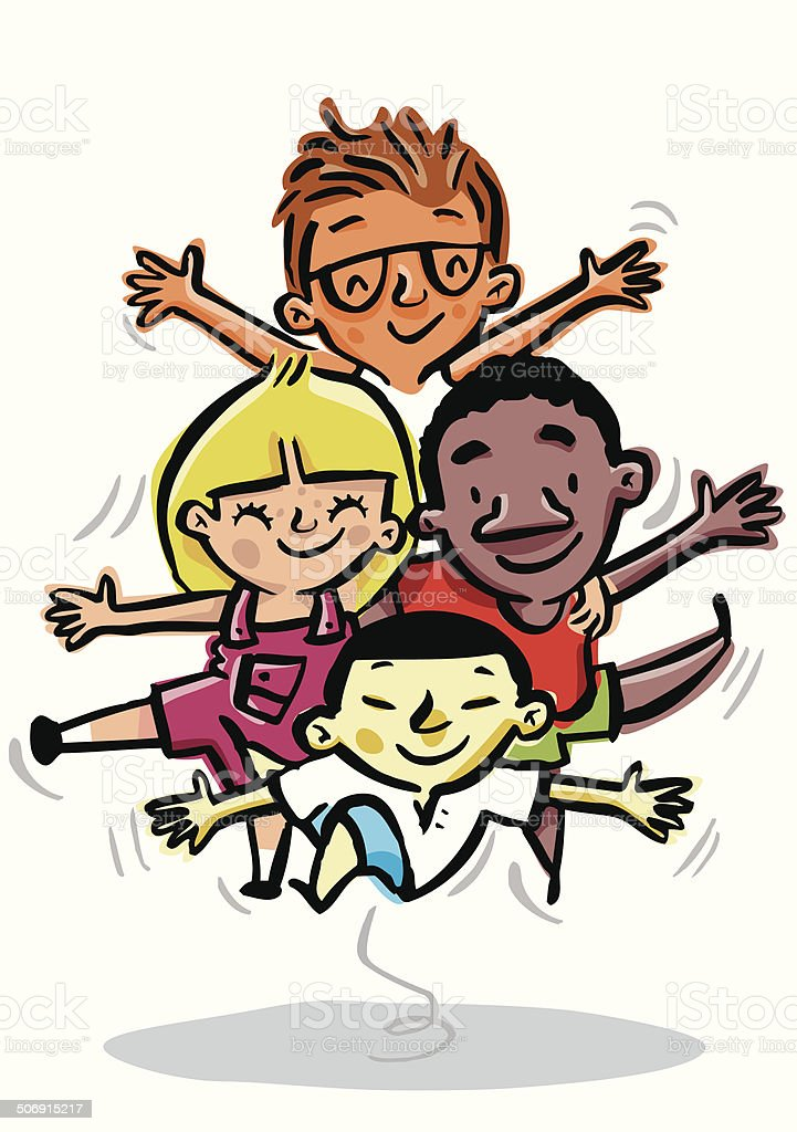 Children of different races, tolerance, diversity and equality racism vector art illustration