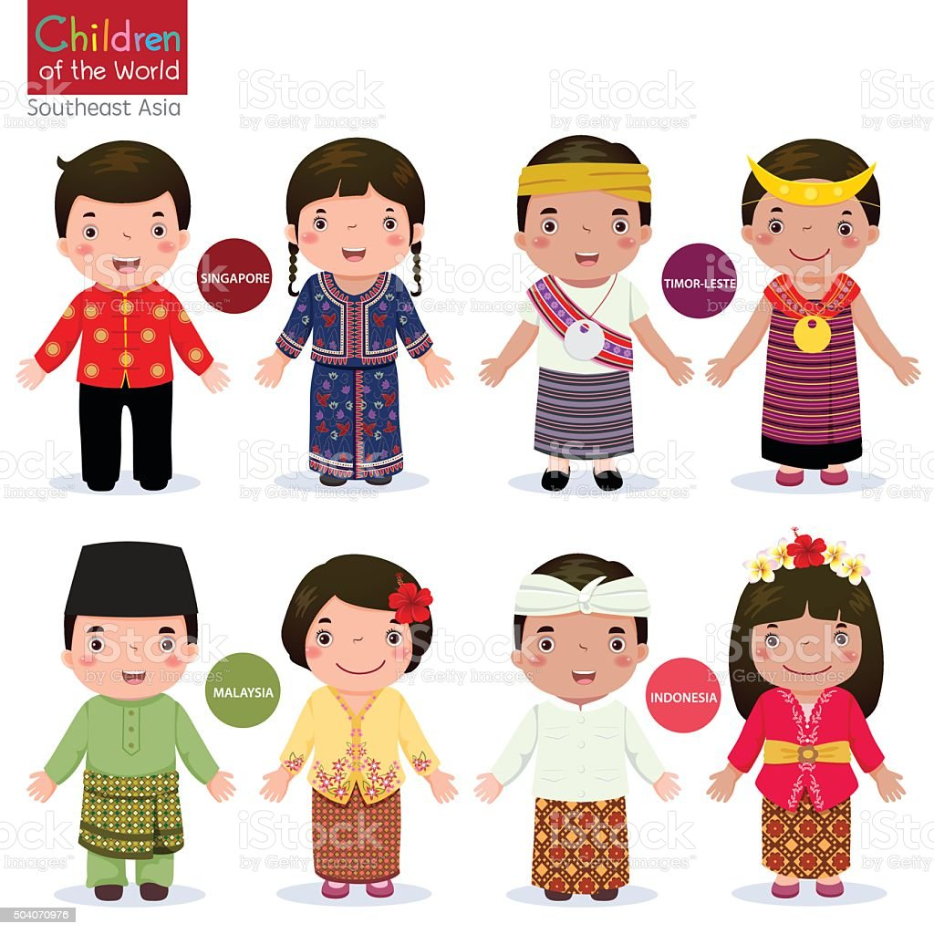 Children of the world; Singapore, Malaysia, Timor-Leste, and Indonesia vector art illustration