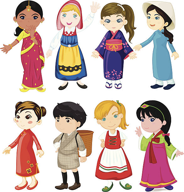 children of the world - dutch traditional clothing stock illustrations, clip art, cartoons, & icons