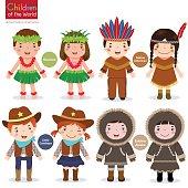 Children of the world-USA-Hawaiian-Native American-Cowboys-Eskimo