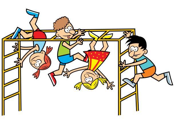 children on a jungle gym - monkey bars stock illustrations, clip art, cartoons, & icons