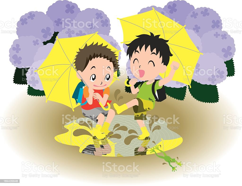 Children on a rainy day royalty-free stock vector art
