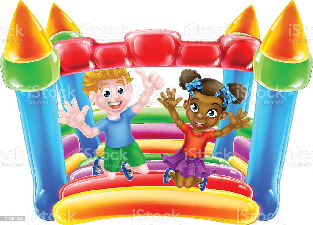 Children on Bouncy Castle vector art illustration