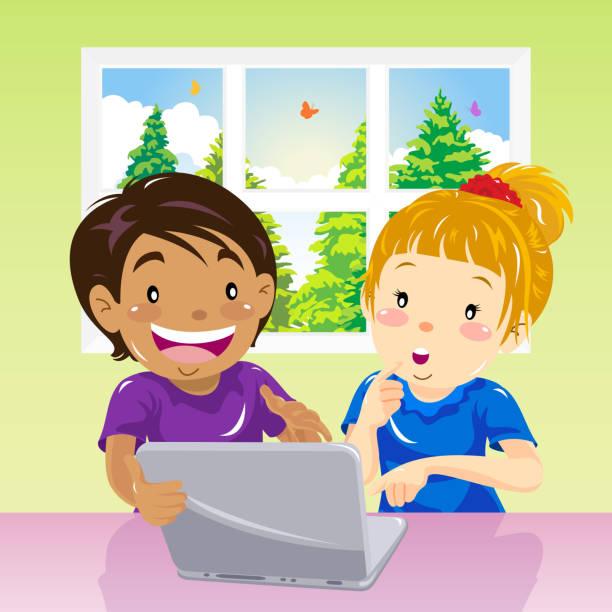 illustrazioni stock, clip art, cartoni animati e icone di tendenza di children on internet - two students together asian