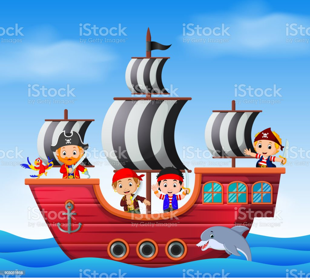 Children on pirate ship and ocean scene vector art illustration