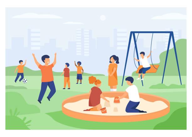 stockillustraties, clipart, cartoons en iconen met kinderen op speelplaatsconcept - mini amusementpark