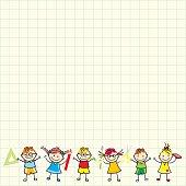 Children on square paper