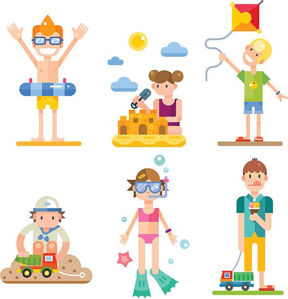 kinder auf sommerurlaub - speiseeismaschine stock-grafiken, -clipart, -cartoons und -symbole
