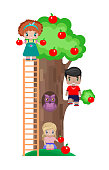 children on the lawn with an Apple tree on a picnic, two girls and a boy under the tree and on it, with apples in his hands, in a tree hollow with an owl inside. isolated image