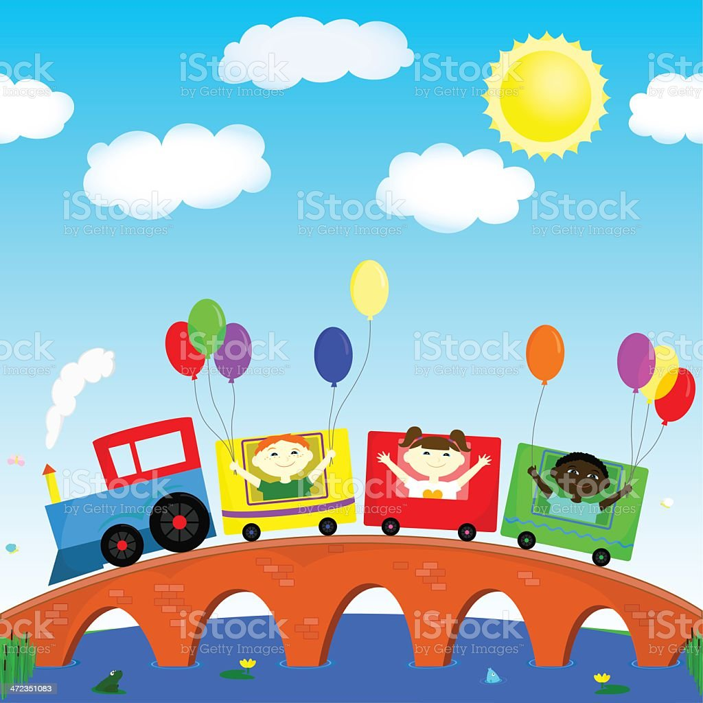 children on the train royalty-free stock vector art