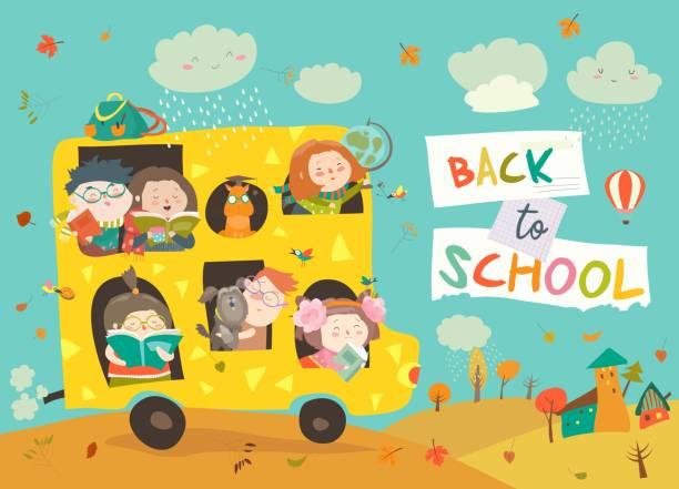 bildbanksillustrationer, clip art samt tecknat material och ikoner med barn på väg till skolan - children autumn