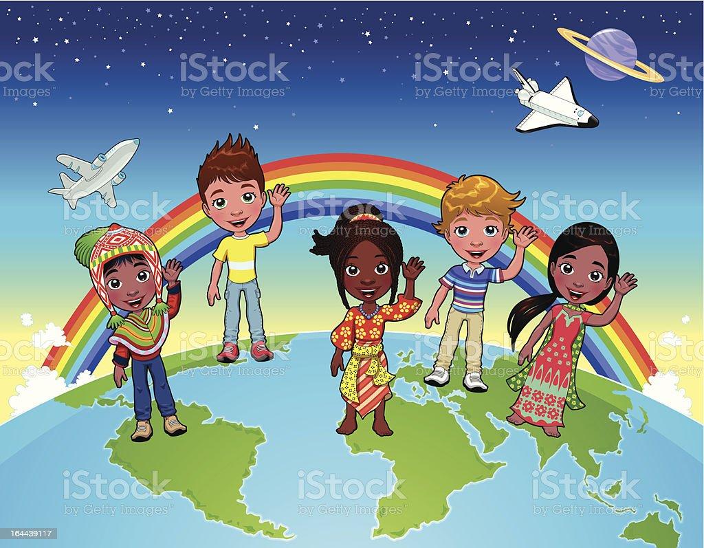 Children on the world. royalty-free stock vector art