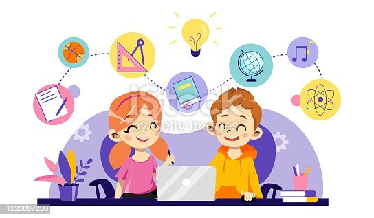 istock Children Online Education, Remote Studying, Training and Courses, Learning, Video Tutorials. Cheerful Children Are Study Online Use Laptop With School Items. Cartoon Flat Style. Vector Illustration 1220087230