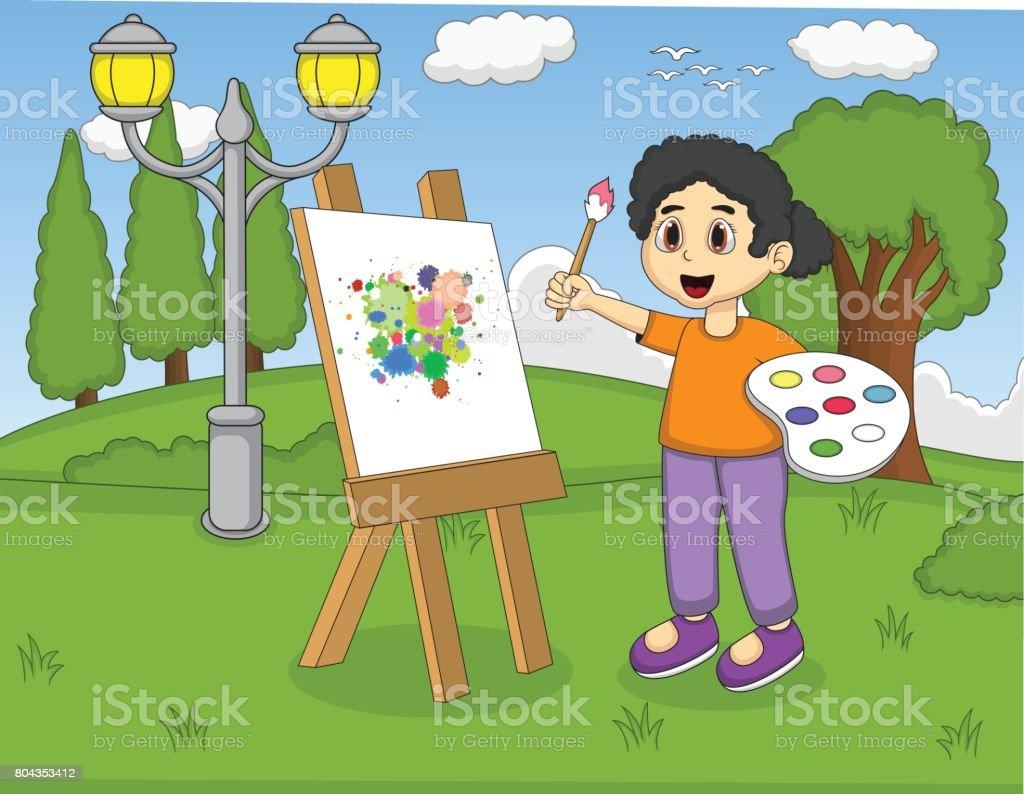 Ilustración de Niños Pintando En La Historieta Del Parque y más ...