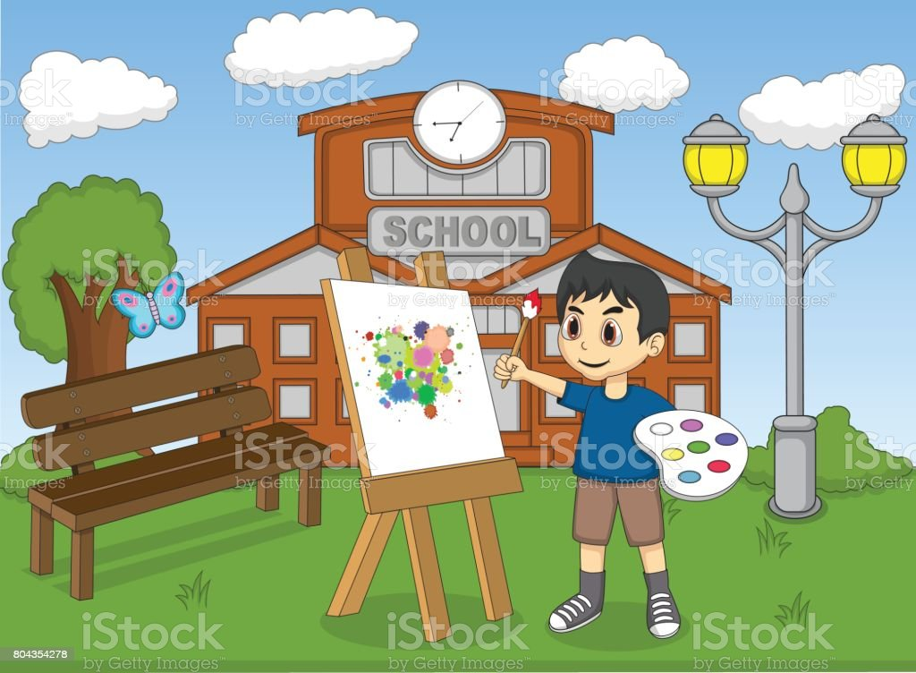 Children painting at the park cartoon vector art illustration